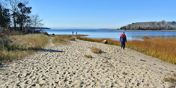people walking along the water on Little Bay