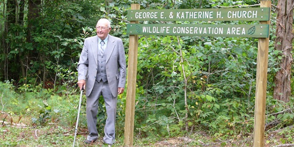 George Church at the Church Wildlife Conservation Area dedication
